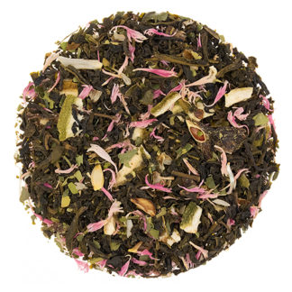 Loose leaf green tea with lime pieces and pink flower petals