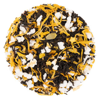 Black loose leaf tea with popped rice and yellow flower petals