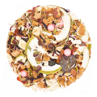 loose leaf tea blend with bits of lime, cherry, grapefruit, apple, pink candied pearls