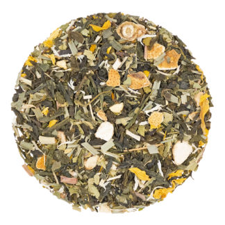 loose leaf green tea with lemon pieces
