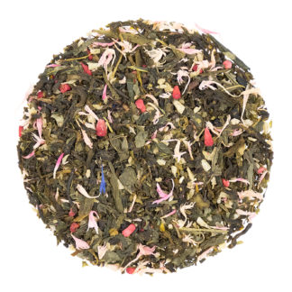 Loose leaf green tea with raspberries, coconut pieces
