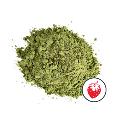 Matcha powder with a strawberry icon